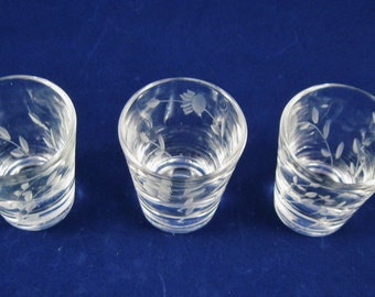 Shot Glasses, Three (3) Glasses, Floral Embossed, 1950's Barware