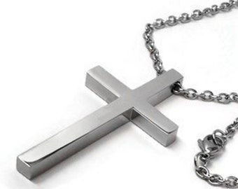 Simple Large Cross Necklace for Men, Stainless Steel Jewelry, Religious Pendant, Confirmation Gift