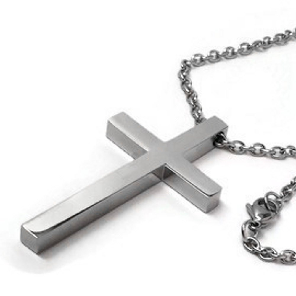 Simple large cross necklace for men stainless steel jewelry for Stainless steel jewelry necklace