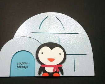 Igloo and Penguin Christmas Card - Igloo Card - Penguin Card - Christmas Card - Blue Igloo Christmas Card - Igloo Cut Outs