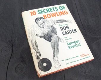Vintage Bowling Book, 10 Secrets of Bowling, Don Carter, Vintage Gift for Him, Man Cave Book