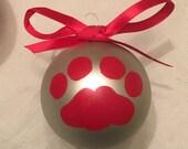 Cougar Paw Print Ornament,Washington Universtiy Cougars Ornament,Cat Paw Print Ornament,Christmas Cat Paw Ornament,Silver Red Cougar Ball