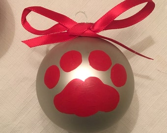 Cougar Paw Print Ornament,Washington Universtiy Cougars Ornament,Cat Paw Print Ornament,Christmas Cat Paw Ornament,Silver Red Cougar Ball