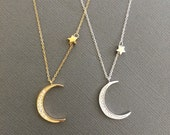 925 Silver and 18k vermeil Pave Crescent Moon and Star necklace, Star and Moon layering necklace, Star necklace, gift for mom, gift for her