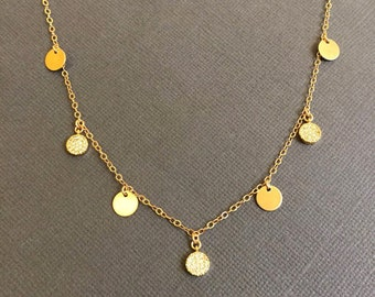 Mixed Gold disc necklace, Disc coin necklace, 4 Gold filled disc Coin and 3 CZ embedded disc charm Necklace, Wedding necklace