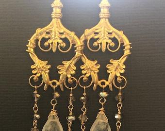 Chandelier earrings, Wedding earrings, Bridesmaid earrings, Rainbow Moonstone on 18K Vermeil chandelier pendant, Long dangling earrings