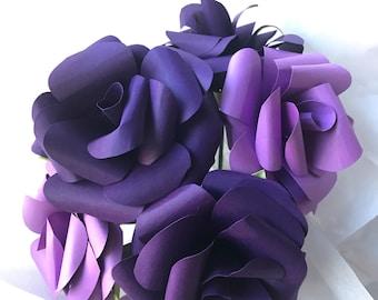 Purple paper flowers, purple bouquet, paper flower bouquet, purple wedding decor