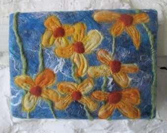 fiber art, wet felted, felt painting, yellow flowers 5 x 7 inches