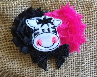 Baby Girl Headband, Pink Flower Headband, Child Hair Clip, Newborn Flower Headband, Zebra Hair Clip, Shabby Flower Headband, Photo Prop