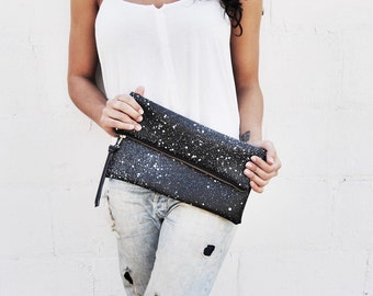extra large constellation pouch // black + white