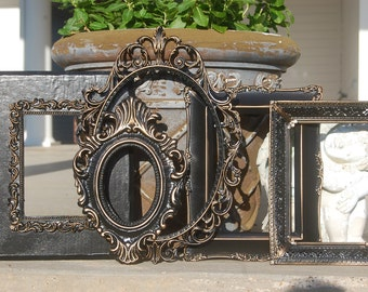 Picture Frame Set / Set Of 5 Shabby Chic Frames / Vintage Frame Collage