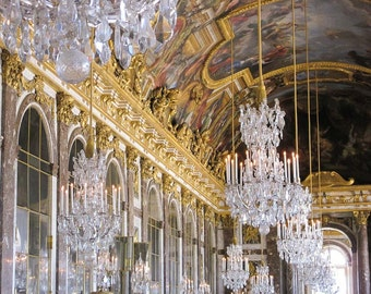 France Photography - Palace of Versailles - Château - Castle - Hall of Mirrors - Chandelier - Fine Art Photograph Print - Home Decor