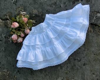 Girls white pettiskirt. White cotton petticoat. Underskirt for girls. Toddler to tween ruffle skirt.Girls petticoat.Girls cotton skirt.