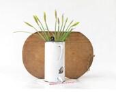 Vintage White French Enamel Ware Irrigator - Vintage White Enamelware Wall Hanging Vase - French Enamel Vase - Shabby Chic