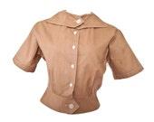 1950s Vintage Mid-Century Modern Khaki Tan Cotton Blouse / Coverup Jacket - size medium / large