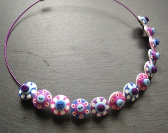 Spotty Sputnik Polkadot Choker Necklace Blues Pinks and Purples
