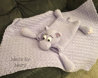 PDF Pattern: Harvey the Hippo Blanket Buddy **Crochet Pattern only, not actual blanket**