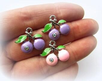 2pcs Cherry Charms Enamel Charm Glass Rhinestone Charms 16 x 18 mm Purple Pink Charm Fruit Charm Craft Supplies (2)