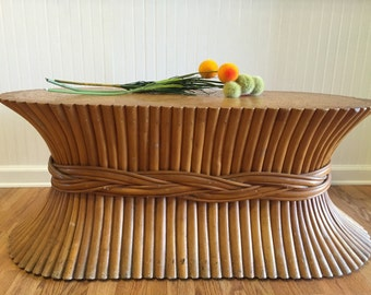 SALe! SHEAF of WHEAT COFFEE Table Long Oval Attributed McGuire Coffee Table, Pencil Reed, Hollywood Regency Modern at Ageless Alchemy
