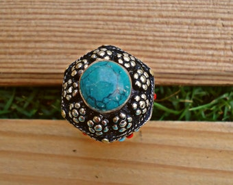 Unique Afghan Turkmen Turquoise Silver Ring. Nomadic Ring.Old vintage jewelry.Gypsy Ring. Bohemian Ring.Afghani jewelry