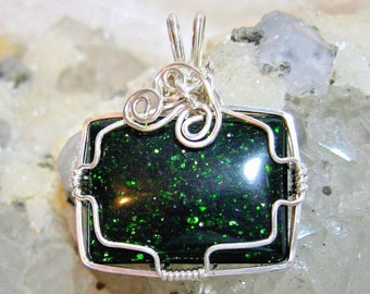 Green Goldstone Pendant East West Rectangle Solid Sterling Silver 935 Wire Wrapped Argentium Anti Tarnish Wire