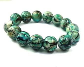 20 Mottled Beads Cream Black and Blue Beds - Mottled Beads 10mm Beads - Glass Beads