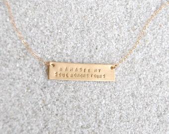 Gold Namaste Bar Necklace