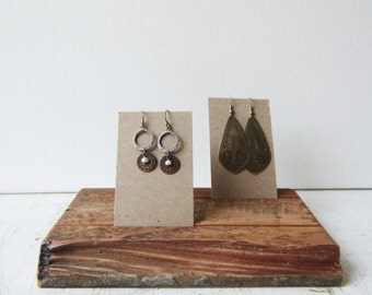 Earring Jewerly Card Holder - Salvaged Rustic Wood - Jewelry Card Display Wood Base  - Quantities Ready to Ship