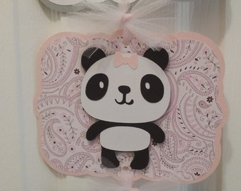 It's a Girl Hospital Door Banner - Baby Girl Panda Sign - It's a Girl Sign - 4 cards