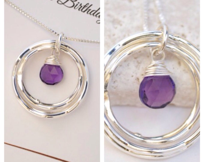 40th Birthday Gift For Her, Amethyst Necklace, February Birthstone Jewelry for Women, 4rd Anniversary Gift for Wife Best Friend Gift,4 Rings