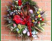 Large Scottish Highland Bagpipes Wreath, Scotland Heather, Thistles, and Wildflower Wreath, Tartan Everyday wreath