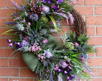 MADE TO ORDER Scottish Thistle & Heather Coastal Wreath, Everyday, Highland Scotland Coastal Wall Art, Beach Wreath, Purple lavender summer