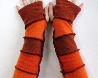 Womens Long Fingerless Gloves - Driving Gloves - Festival Clothing - Arm Warmers - Fingerless Gloves -  Wool Gloves - Upcycled Clothing