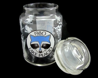 Rare 1980 Olympics Glass Jar, Lake Placid XIII Winter Olympic Games Souvenir, Commemorative Storage Jar, Roni Raccoon