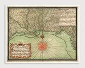 Old Gulf Coast Map Art Print 1747 Antique Map Archival Reproduction