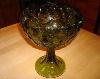 Large Green Glass Pedestal Candy Dish