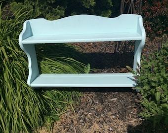Vintage robin's egg blue wall shelf knick knack curio custom colors