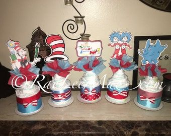 Cat in hat inspired Diapercake minis/Dr Seuss Diapercakes/Dr Seuss Baby Shower Theme/thing 1 and thing 2 diapercakes/one fish, two fish