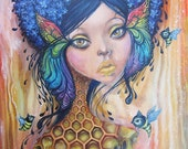 Guardian of the Bees - canvas print, honeycomb, queen bee, giclee, ready to hang art, home decor, gift ideas, art by phresha, bee painting