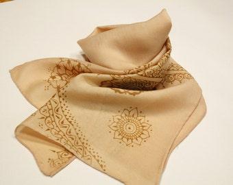 Light salmon pink tribal wool silk blend scarf.