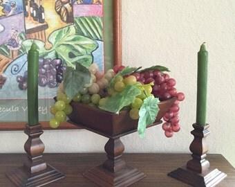 Wood Compote Fruit Bowl Farmhouse Chic Centerpiece Bowl