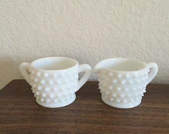 FENTON Sugar & Creamer Set / White Milk Glass Hobnail Pattern Sugar and Creamer set / Vintage Milk Glass Sugar and Creamer Hobnail Set