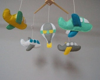 Baby Crib Mobile - Music Baby Mobile - Felt Mobile - Nursery mobile -  Baby mobile Baloon and airplanes