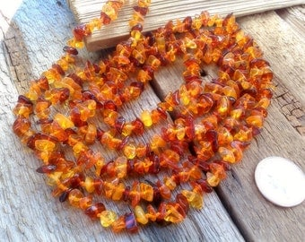 Vintage Natural Baltic Amber Long Endless Rope Necklace, 56 inches