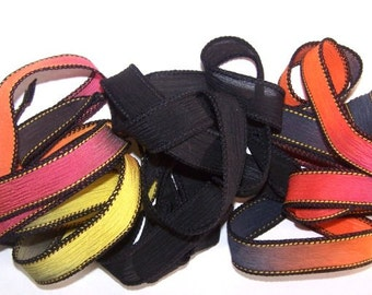 3 Pack Special Sale/Silk Ribbons/Hand Dyed/Wrist Wraps/Sassy Silks/Ready to Ship/ See Description for Details/101-0354