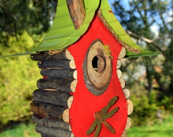 bird house, Birdhouse, A Hanging Tear Drop Birdhouse with rusty tin Dragonfly and back clean out door, in color options