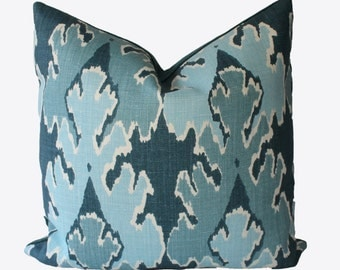 Decorative Designer Kelly Wearstler, Bengal Bazaar, Teal Ikat, 18x18, 20x20, 22x22, or Lumbar, Throw Pillow, Accent Pillow