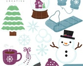 SALE! Winter, Snowman, Mittens, Sled, Cute Clipart, Personal & Small Commercial Use, Vector Clip Art, Instant Download, png, jpeg, eps