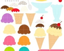 SALE! Ice Cream Maker, Build Your Sundae, Cute Clipart, Personal & Small Commercial Use, Vector Clip Art, Instant Download, png, jpeg, eps