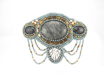 Barrette bead embroidered with jasper cabochons, blue, gold seed bead and pearls